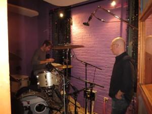 Drummer Brian Wolfe w:Engineer Geoff Sanoff